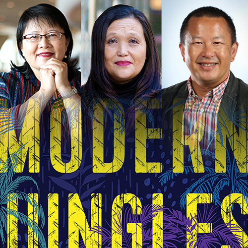 3 Panelists: Mai Zong, Chia Vang, and the author Pao Lor featured above a slightly faded image of the cover of Modern Jungles: A Hmong Refugees childhood story of survival.