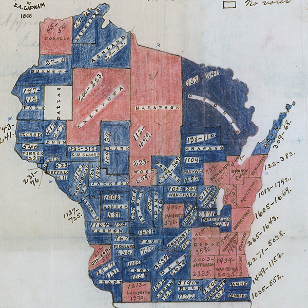 Hand-drawn and colored maps of Wisconsin showing how each county voted in the gubernatorial race of 1865, and on a referendum regarding suffrage for African-Americans on the same ballot.
