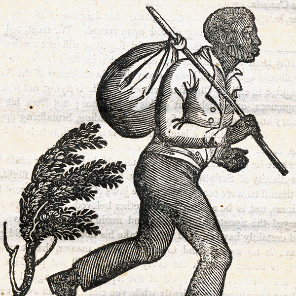 Image of a runaway slave with stick and satchel.