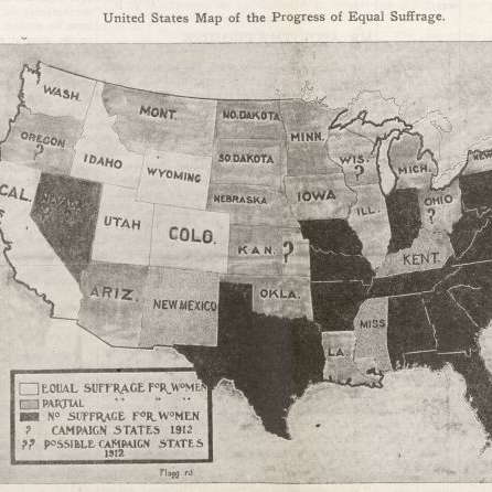 Map depicting the states where there was partial, equal, or no suffrage for Women.