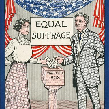 A white man and white woman stand at a ballot box casting their votes in this illustrated print.