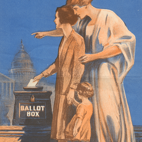 Poster issued by the Milwaukee County League of Women Voters that graphically urges women to vote.