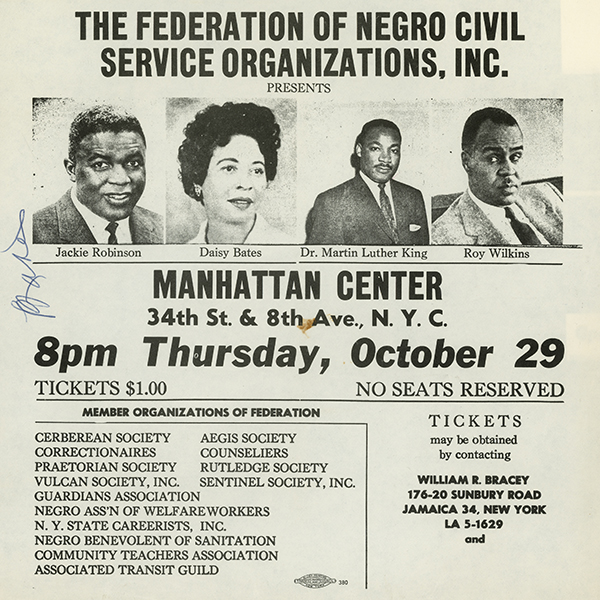 Flyer for a rally 'The Right To Vote' 'The Fight To Vote' sponsored by the Federation of Negro Civil Service Organizations, Inc. Speakers include Jackie Robinson, Daisy Bates, Martin Luther King, Jr., and Roy Wilkins.