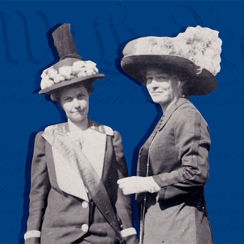 Two white women, in black and white, surrounded by a blue background and the US Constitution superimposed over the blue.