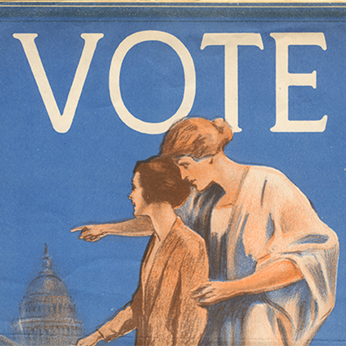 A poster issued by the Milwaukee County League of Women Voters in the 1920s urging women to vote.