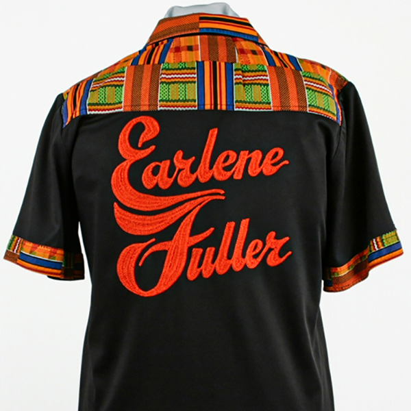 Earlene Fuller's bowling shirt - back, c. 1995