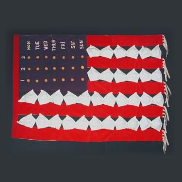 Land of the Freed-up Woman American flag banner made from bras, 1971