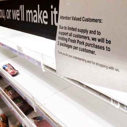 Signs at grocery stores, like this one at a meat department, alerted customers to a purchase limit after a rush early in the COVID-19 pandemic caused supply shortages. Other in-demand items included soup and other canned goods, pasta, and flour.