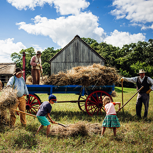 A group of people bail hay out of an old fashioned cart