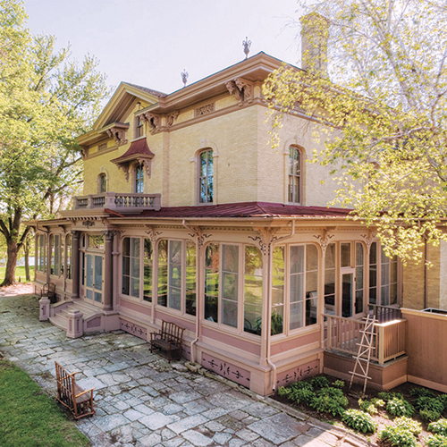 The Villa Louis Manor on a sunny day, victorian architecture on elegant display