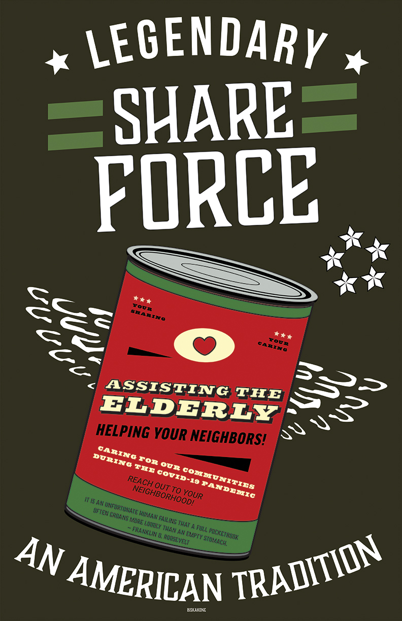 Assisting the Elderly Poster by Greg Biskakone Johnson, A poster reminiscent of WWII army styling it evokes a relateable feel revealing a can of food, that talks about taking care of our neighbors and our community in times of hardship.