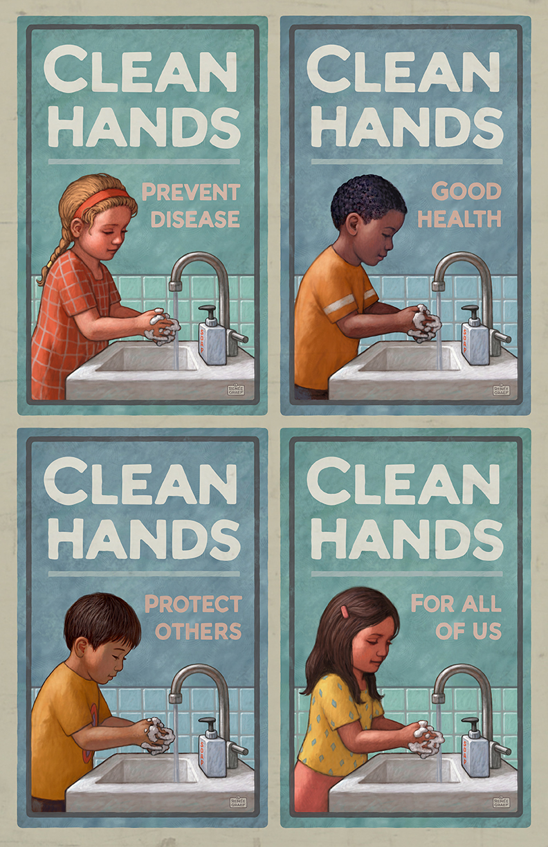 Renee Graef's Clean Hands Poster, depicting four ethnically diverse children all washing their hands.